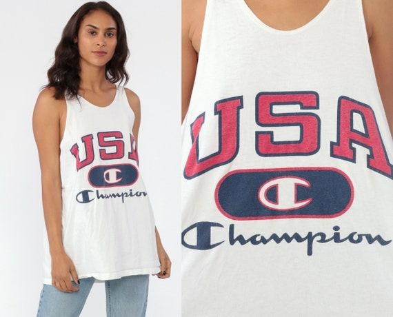 CHAMPION Shirt USA Tank Top Muscle Tee Shirt USA White Tank Top Tee 90s Sleeveless 1990s Streetwear Low Armhole Sportswear Extra Large xl l