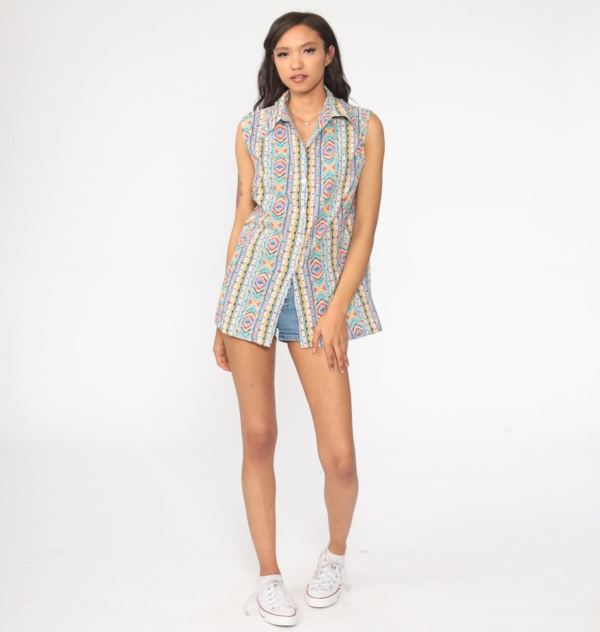 Tribal Top Aztec Shirt Geometric Blouse 70s Top Bohemian Shirt 1970s Hippie Sleeveless Button Up Boho Tank Top Retro Stripe large