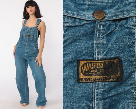 Jean Overalls xs 90s Denim Grunge Pants Baggy 1990s Dungarees Bib Washington Dee Cee Distressed Boyfriend Vintage Carpenter Extra Small xs