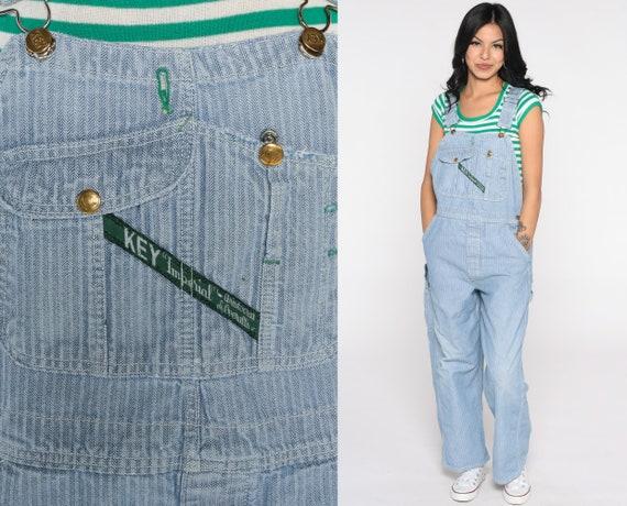 Striped Overalls Denim Pants KEY Imperial 80s Bib Overalls Jean Light Blue Work Dungarees Wide Leg Pants Vintage 90s Baggy Medium