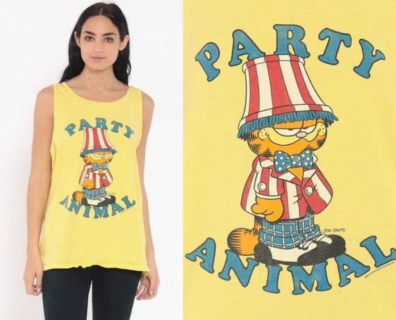 Garfield Shirt PARTY ANIMAL Tank Top Cat Tshirt Cartoon Comic Shirt 90s Graphic Shirt Vintage Tee Retro T Shirt Yellow Large