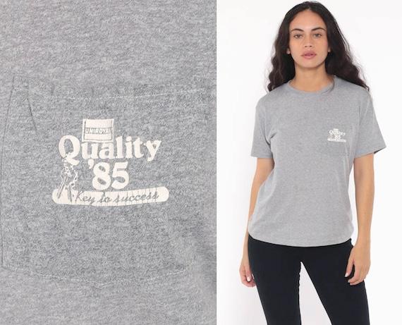 85 Uniloyal Shirt -- 1985 Tee Shirt Grey Pocket Retro Tshirt Graphic T Shirt 80s Vintage T Shirt Small xs s