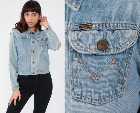 Ripped Jean Jacket 70s Denim Jacket Jean Jacket Boho Hippie Denim Jacket Vintage 1970s Hipster Distressed Button Up Seventies Extra Small xs