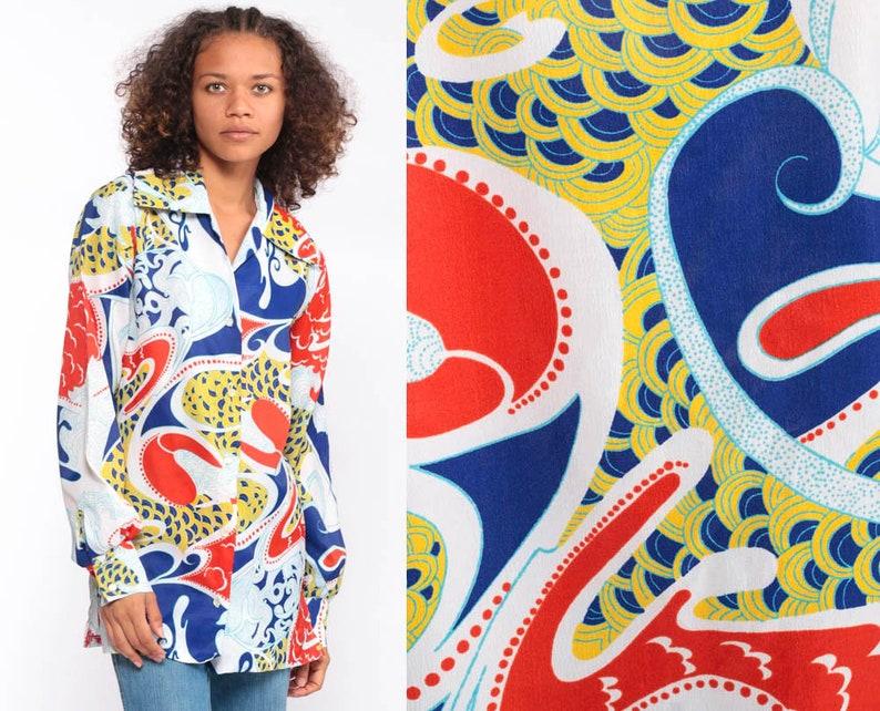 24d439f12e02 Psychedelic Hippie Shirt 70s Blouse Wave Print Boho Disco Top