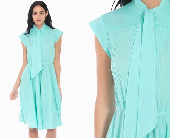 Seafoam Ascot Dress 70s Boho Midi Necktie Secretary Grecian High Waist Bohemian Tie Blue 1970s Vintage Cap Sleeve Small Medium