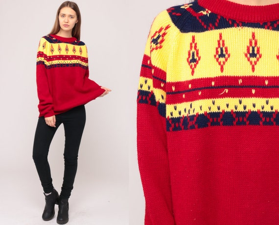 Fair Isle Sweater 80s Pullover Boho Norwegian Sweater Geometric Nordic Print Raglan 1980s Vintage Knit Bohemian Red Yellow Extra Large xl