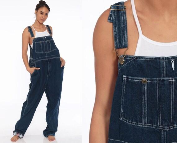 Denim Overalls Pants Jeans 80s Denim ZIPPER FLY Bib Overalls Pants Baggy Dark Blue Long Jean Dungarees 1990 Vintage Carpenter Extra Large xl