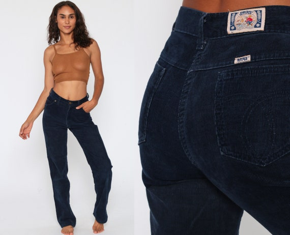 70s Corduroy Pants -- 1970s Navy Blue Pants 80s High Rise Waist Pants Vintage Straight Leg Cords SMACS High Waisted Trousers Small Size 6