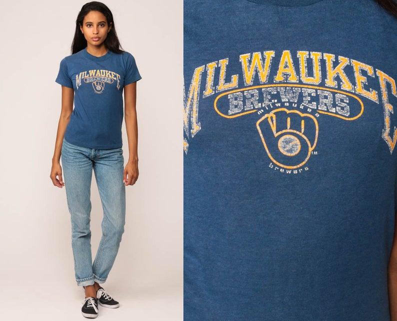 100% authentic 88e61 781ef Milwaukee Brewers Shirt Baseball T Shirt 80s TShirt MLB Shirt Sports Retro  Graphic Print Tee Vintage 1980s Tee Blue Small