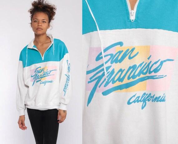 San Francisco Shirt Half Zip Sweatshirt 80s Blue 90s Pullover Sweater 1990s Color Block Pastel California Sweater Vintage Retro Medium