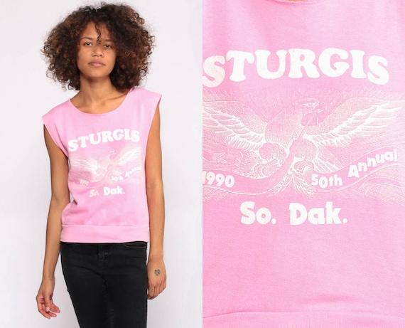 Sturgis Shirt 1990 Biker Tank Top Baby Pink Sleeveless Sweatshirt Motorcycle Rally 90s Shirt Vintage Eagle Extra Small xs