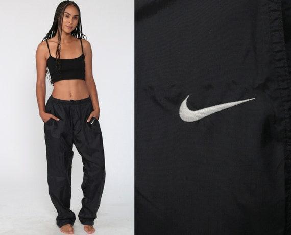 Nike Track Pants 90s Black Joggers Baggy Jogging Track Suit Warm Up Suit Black Athletic Pants 1990s Sportswear Vintage Retro Extra Large XL