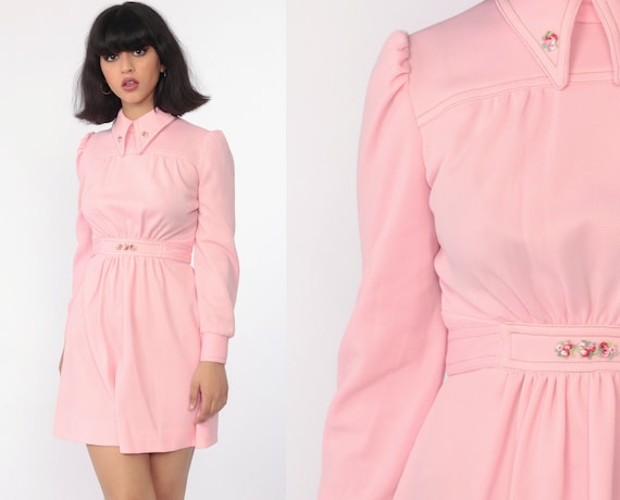 Pink Babydoll Dress Mod Mini Dress 60s Collared Long Puff Sleeve Empire Waist Embroidery Pastel Baby Twiggy 1960s Vintage Extra Small xs