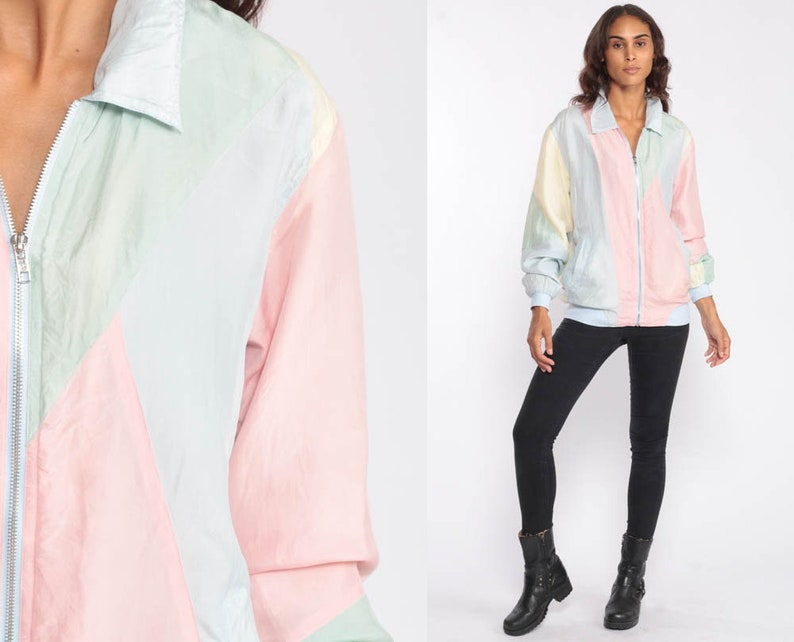 90be0d3c17e0 Pastel Silk Jacket 80s Windbreaker Color Block Baby Pink