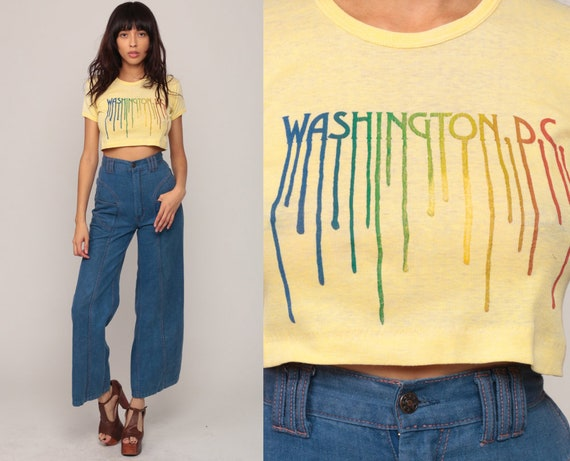 Washington DC Shirt 80s Cropped Tshirt 70s Vintage Crop Top Rainbow Graphic T Shirt Hipster Retro Baby Tee Small