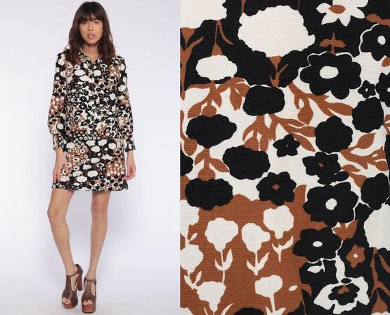 70s Mini Dress 60s Shift Mod Floral Shirtdress Hippie Boho Button Up Shirtdress Brown Black Long Sleeve Vintage 1970s Bohemian Small