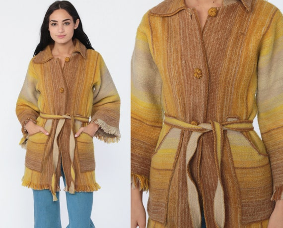 Llama Wool Cardigan Sweater Jacket 70s Boho Belted Sweater Yellow Fringe Cozy Hippie Bohemian 1970s Vintage Retro Striped Extra Small xs