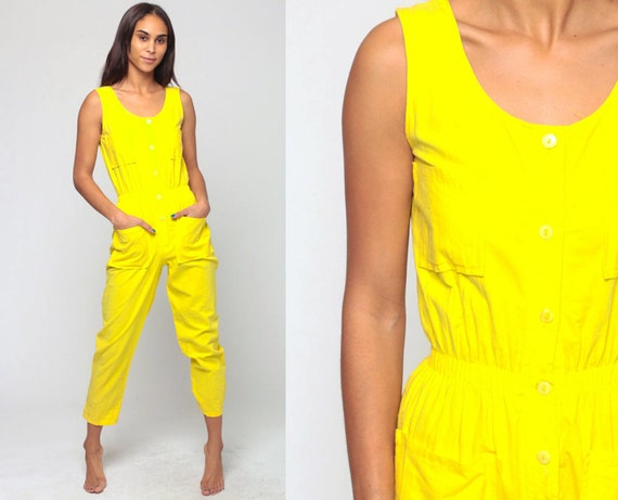 Summer Jumpsuit 80s Onesie Playsuit Tapered Pant Button Up High Waisted Romper Playsuit 1980s Vintage Pantsuit Sleeveless Extra Small xs