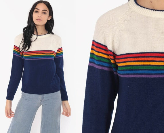 Levi Rainbow Sweater 80s Kawaii Blue Striped Knit Jumper Levis Pullover Ski Slouchy 1980s Boho Slouch Vintage Retro Bohemian Small Medium
