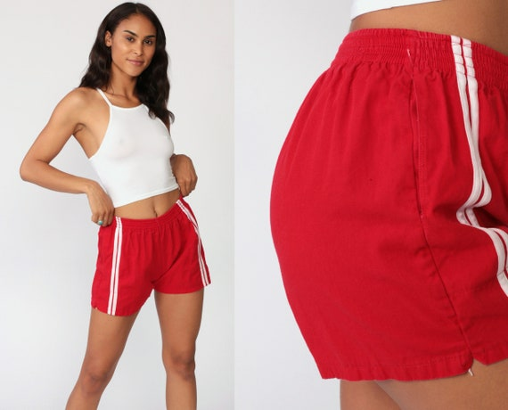 Red Jogging Shorts 80s TRACK SHORTS Running Shorts Gym Shorts Racing High Waist Athletic Retro Joggers Sports Vintage 1980s Extra Small xs
