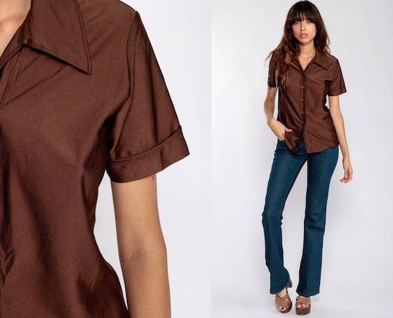 Button Up Shirt 70s Shirt Brown Blouse Hippie Boho 1970s Shirt Disco Top Vintage Collared Plain Hipster Short Sleeve Small