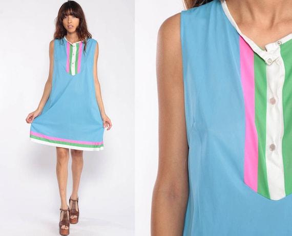 Vintage Nightgown Dress Lounge Dress 70s Nightgown Lingerie Mini 70s Nightie Blue Striped Bib Boho Shift Bohemian Nylon Slip Large