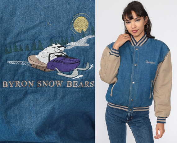 Snowmobile Jacket Denim Uniform Jacket Byron Snow Bears 90s Bomber Jacket Workwear Jacket Graphic Button Up Coat Vintage 1990s Small