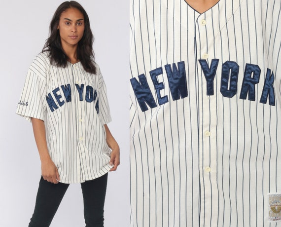 NY Yankees Jersey Shirt New York Baseball Starter Sports Athletic 90s Starter Jersey Button Up Vintage 1990s Large
