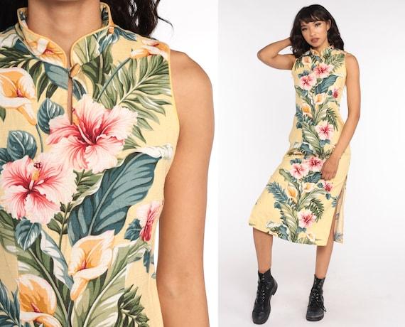 Hawaiian Floral Dress 90s Midi Dress Side Slit Floral Side Slit TROPICAL Boho Palm Tree Sheath Vintage Sleeveless Yellow Small