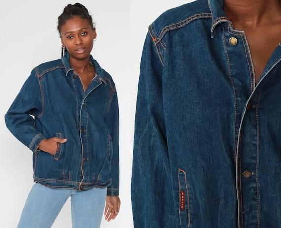 Gitano Jean Jacket 80s Denim Jacket 90s Grunge Biker Blue Stone Wash Oversize 1980s Vintage Oversized Button Up Medium Large