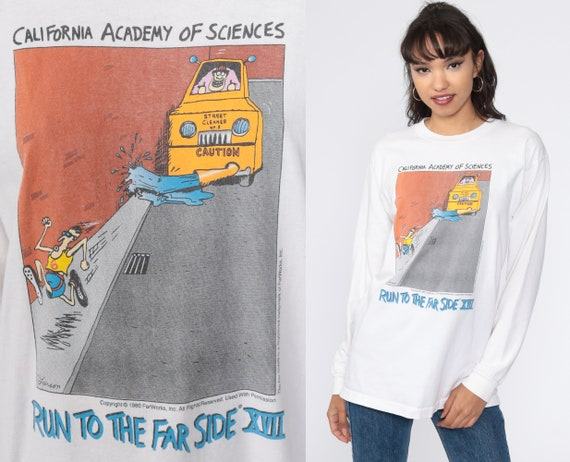 The Far Side Shirt Run To The Far Side XVII 00s Tshirt Funny Long sleeve Shirt Vintage Graphic T shirt White Running Comic Small Medium