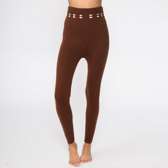 70s Knit Pants Brown Knit Leggings High Waisted P… - image 4