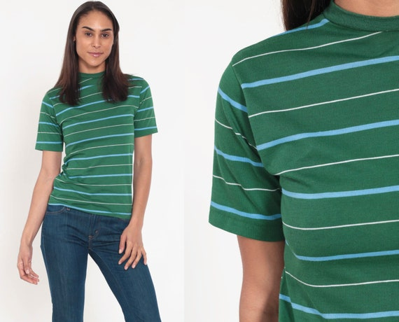 Green Striped TShirt 80s T Shirt Hipster Retro Tee Vintage Ringer Tee Minimalist Normcore 70s Short Sleeve Extra Small xs