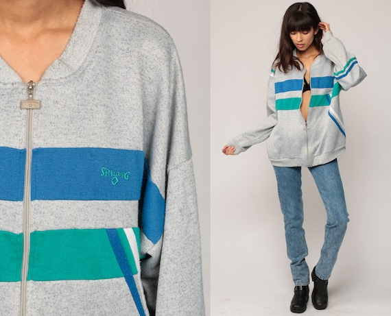 Zip Up Sweatshirt SPALDING Retro Track Jacket 80s Striped Warmup Jacket Hipster Grey Striped 1980s Sport Vintage Gym Green Blue Extra Large