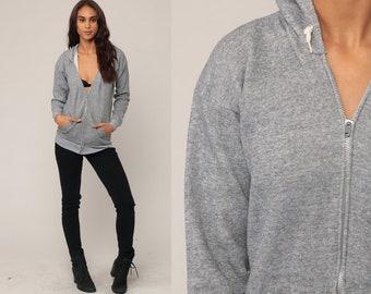 Grey Hoodie Sweatshirt 80s Hooded Sweatshirt Hood Zip Up Sweatshirt Slouchy 1980s Sweater Jacket Vintage Small