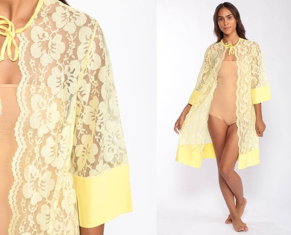 60s Lace Jacket Sheer Jacket Mod Jacket Long 1960s Jacket Yellow Lace Jacket Sixties Vintage 70s Boho Hippie Bohemian Small Medium Large