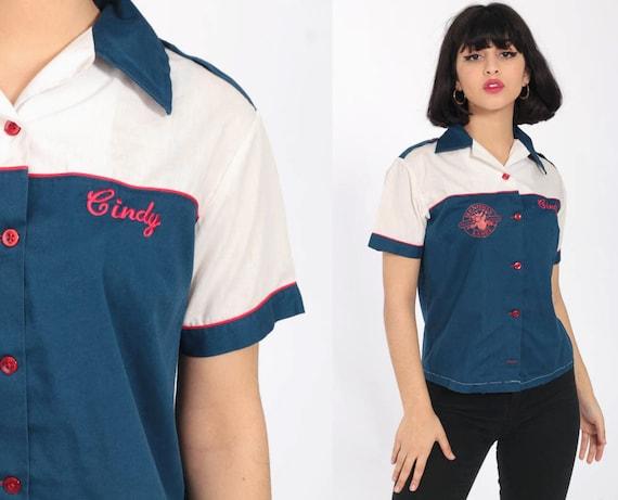 Bowling Uniform Shirt CINDY Name Shirt 70s Bowling Menomin Lanes Rockabilly Punk 1970s Button Up Vintage Extra Small xs s