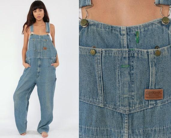 Osh Kosh Overalls 40 x 30 Striped Overalls 80s Denim Osh Kosh Jeans Conductor Grunge Pants Baggy Long Jean Blue Bib Vintage Medium