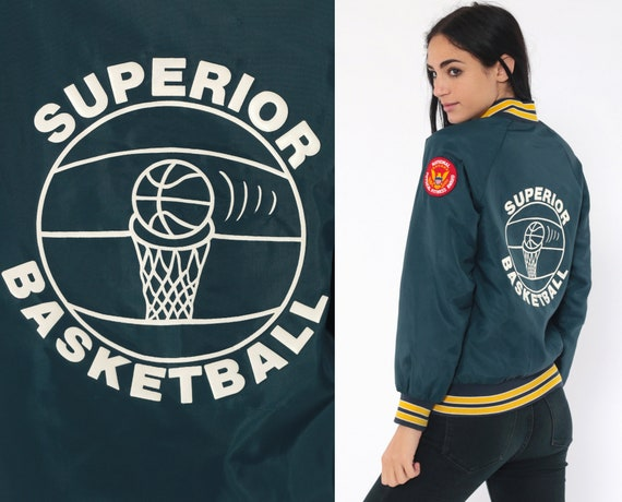 Basketball Bomber Jacket SUPERIOR Basketball 80s Letterman Varsity Jacket STEVE Coat Moto Jacket Vintage 1980s Sports Uniform Extra Small xs