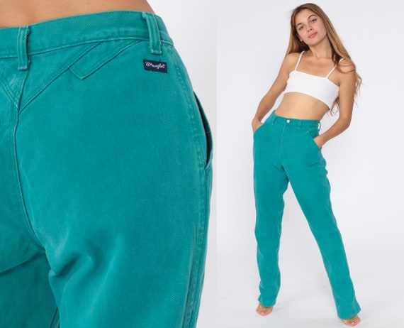 Turquoise Wrangler Jeans 25 Tall -- High Waisted Jeans 80s Jeans Straight Leg Hippie Boho Denim Pants Western Vintage Extra Small xs 34