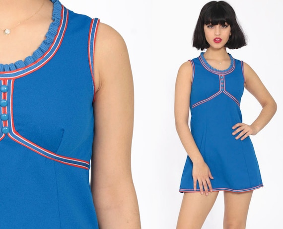 Micro Babydoll Dress Royal Blue 70s Mod Micro Mini Empire Waist 1970s Vintage Dolly Gogo Tennis Sleeveless Polyester Extra Small xs