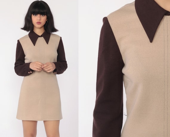 60s Mod Mini Dress Wool PETER PAN Collar Brown Winter Shift 1960s Dolly Go Go Tan Vintage Sixties Twiggy Gogo MiniDress Long Sleeve Small