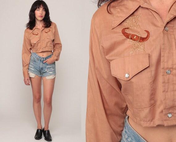 Western Crop Top GOLD STAR Shirt Crop Top 80s Blouse Bull Horn Cowboy Pearl Snap 70s Button Up Vintage Long Sleeve Tan Small Medium