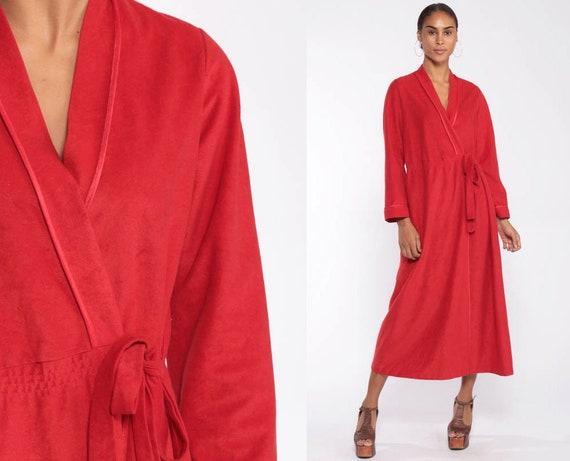 Long Red Robe 70s Wrap Fleece Maxi Lounge Wear Robe Long Sleeve Boho Hippie Pajama 1970s Loungewear Vintage Small