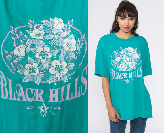 Black Hills Shirt Floral T Shirt South Dakota TShirt Vintage T Shirt 90s Tee Graphic Flower Print 80s Teal Shirt Jerzees Medium Large