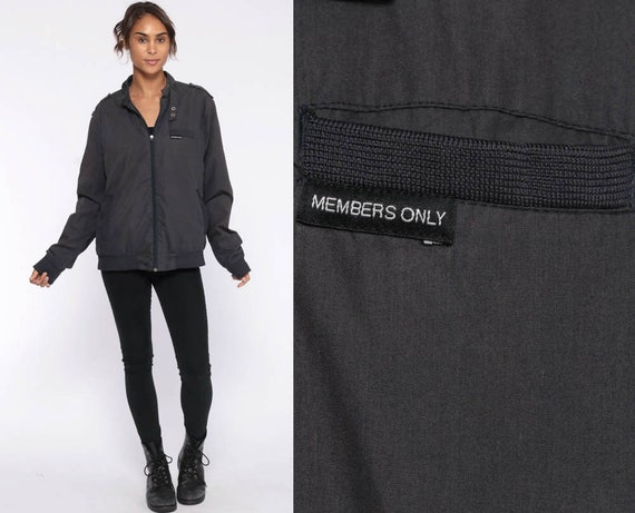 Members Only Jacket 80s Windbreaker Charcoal Grey Bomber Cafe Racer Hipster Shell Light Vintage 1980s Lightweight Medium Large