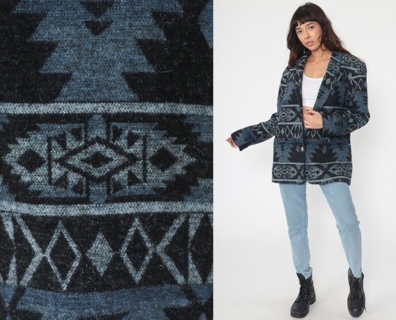 Blue Southwest Blazer Jacket 80s Aztec Southwestern Tribal Jacket 90s Boho Jacket Hippie Vintage Bohemian Medium Large