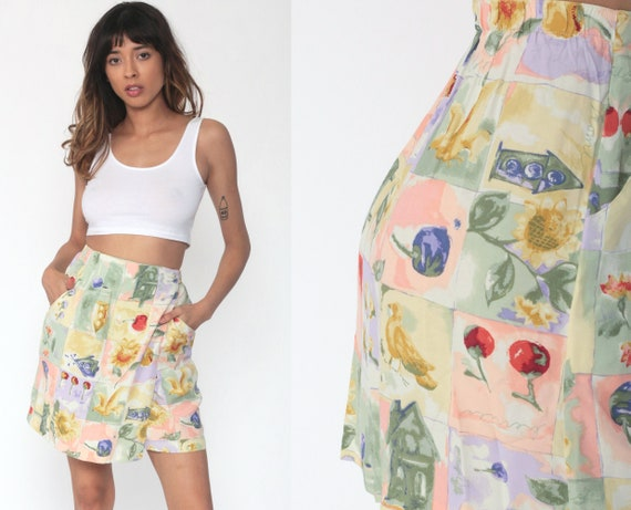 Floral Mini Skirt 90s Mini Wrap CHERRY Bird Skirt Y2K Pastel Skirt Sunflower 1990s Vintage Hippie Festival High Waisted Extra Small xs