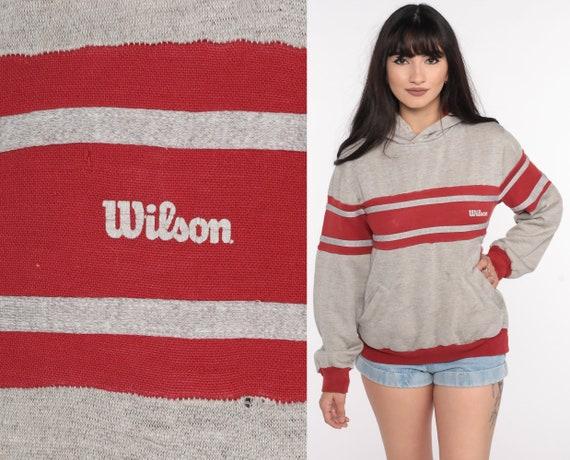 Wilson Hoodie Sweatshirt 80s Distressed Sweatshirt Hooded Grey Striped Pullover Slouchy 1980s Sweater Vintage Sports Small
