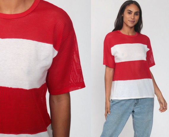 Sheer Mesh Shirt Red Tshirt 80s Top Striped T Shirt Color Block Shirt Short Sleeve White Retro Shirt Vintage See Through 1980s Medium